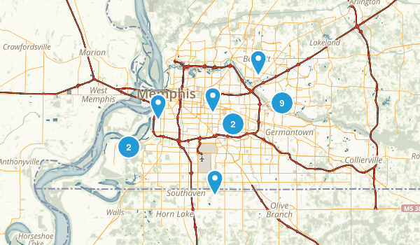 Memphis, Tennessee Walking Map