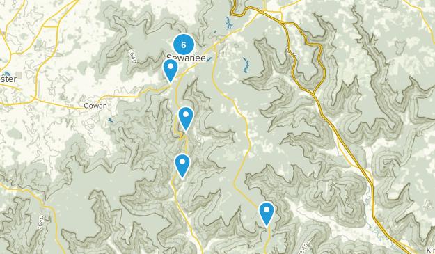 Sewanee, Tennessee Hiking Map