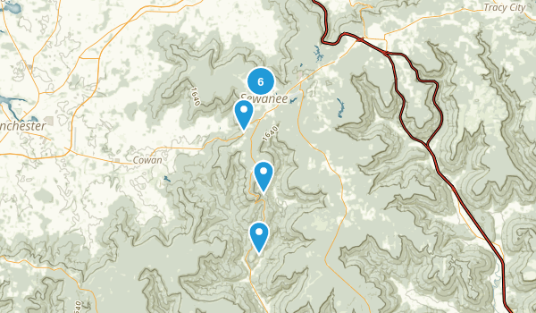 Sewanee, Tennessee Nature Trips Map