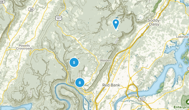 Signal Mountain, Tennessee Hiking Map