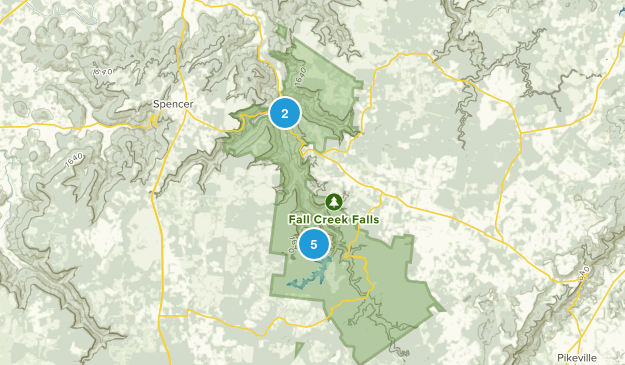 Spencer, Tennessee Hiking Map