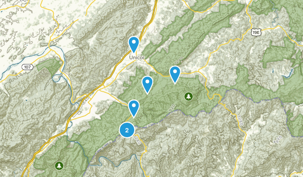 Unicoi, Tennessee Forest Map