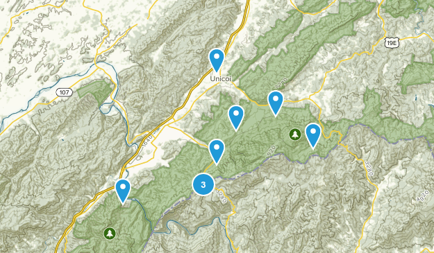 Unicoi, Tennessee Hiking Map