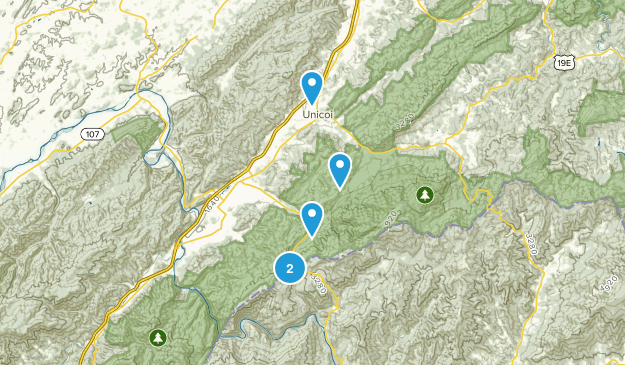Unicoi, Tennessee Trail Running Map