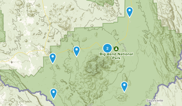 Big Bend National Park, Texas Scenic Driving Map