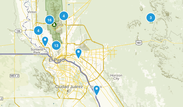 El Paso, Texas Hiking Map
