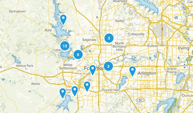 Fort Worth, Texas Hiking Map