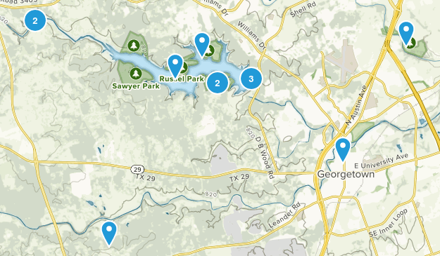 Georgetown, Texas Nature Trips Map