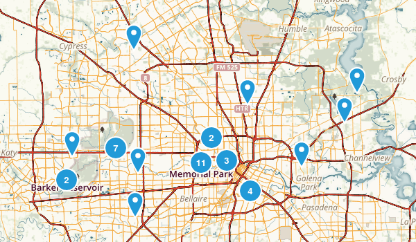 Houston, Texas Hiking Map