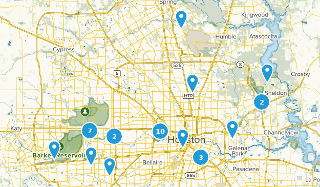 Houston, Texas Nature Trips Map