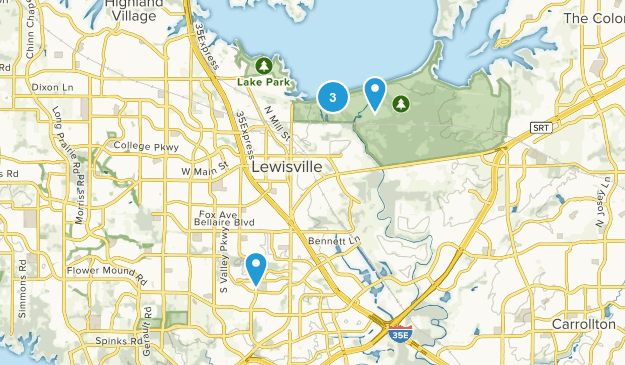 Lewisville, Texas Dogs On Leash Map