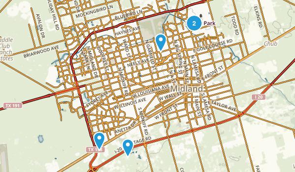 Midland, Texas Hiking Map