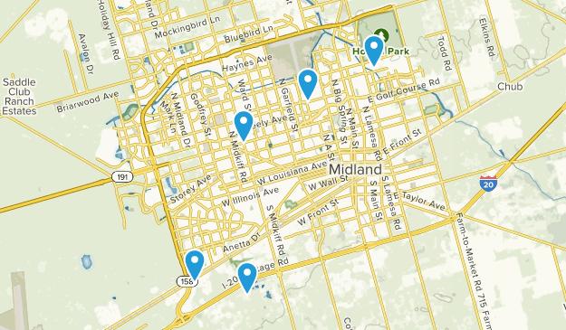 Midland, Texas Walking Map