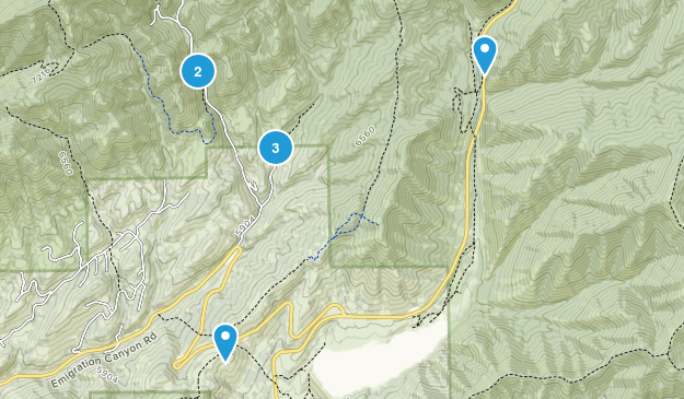 Emigration Canyon, Utah Hiking Map