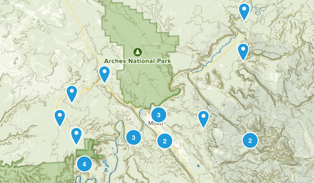 Moab, Utah Dogs On Leash Map