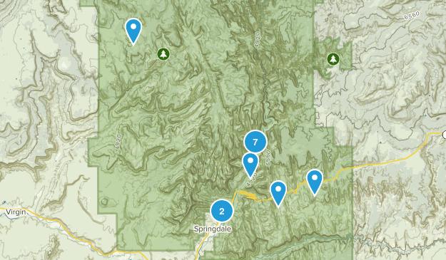 Springdale, Utah Trail Running Map