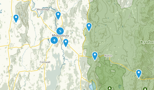 Middlebury, Vermont Hiking Map