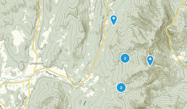 Underhill, Vermont Nature Trips Map