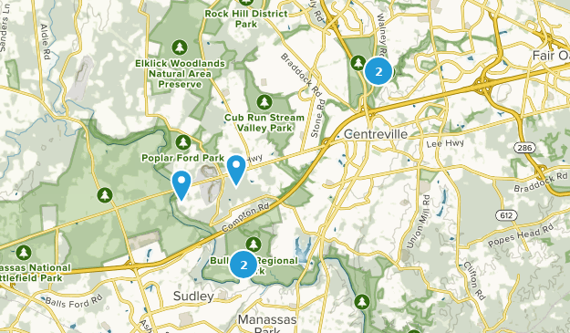 Centreville, Virginia Hiking Map