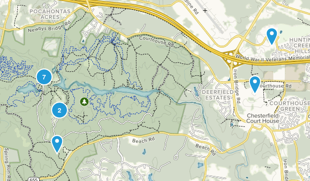 Chesterfield, Virginia Dogs On Leash Map