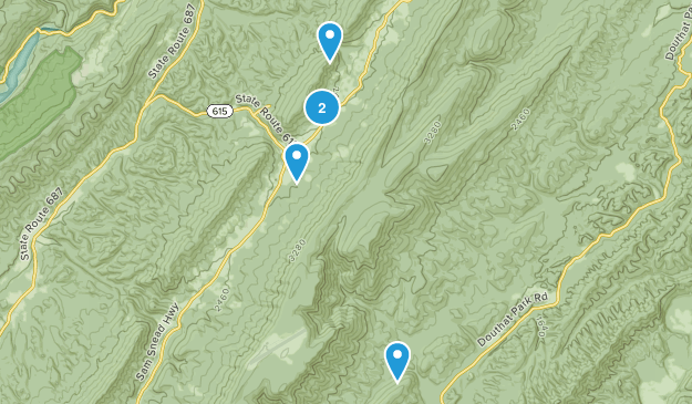 Hot Springs, Virginia Dogs On Leash Map