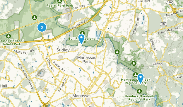 Manassas, Virginia Hiking Map