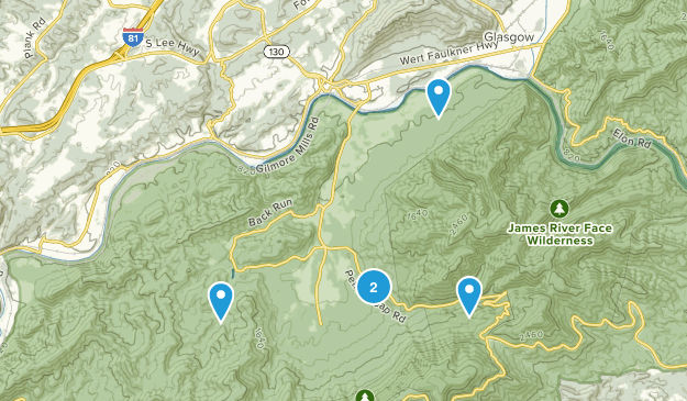 Natural Bridge Station, Virginia Hiking Map