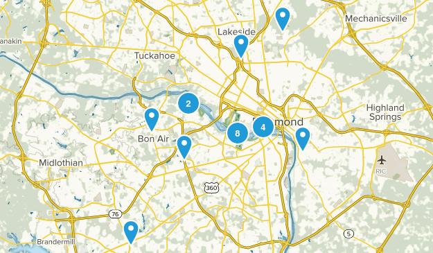 Richmond, Virginia Hiking Map