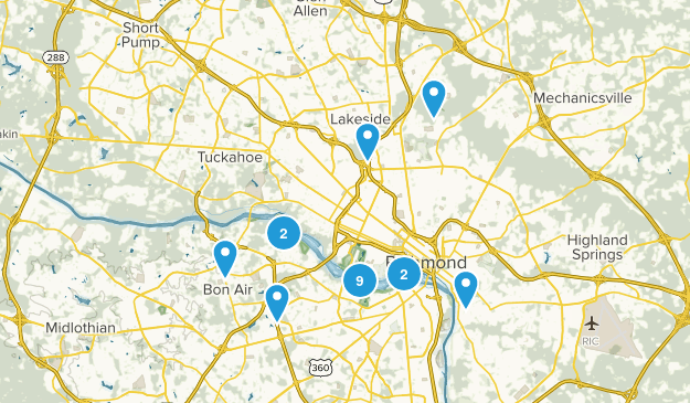 Richmond, Virginia Nature Trips Map