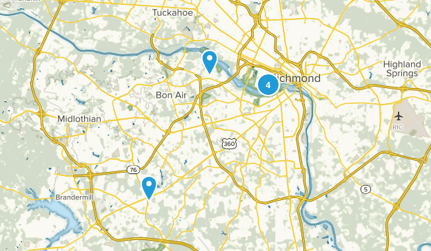 Richmond, Virginia Road Biking Map