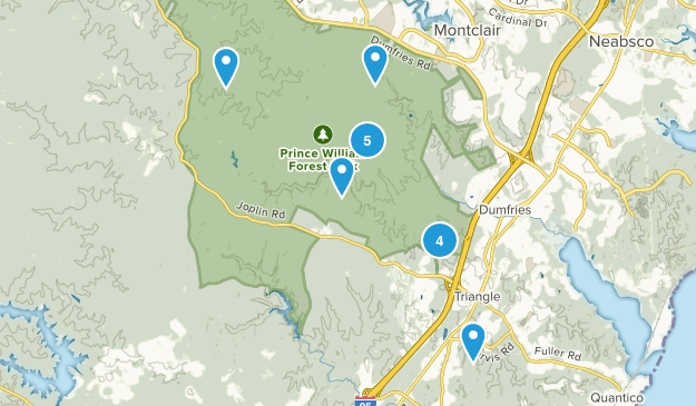 Triangle, Virginia Dogs On Leash Map