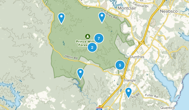 Triangle, Virginia Hiking Map