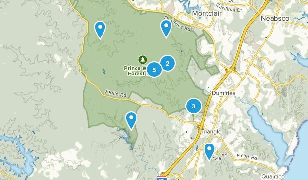 Triangle, Virginia Trail Running Map