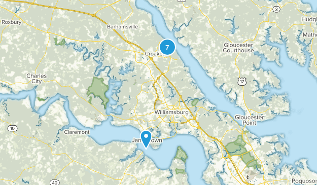 Williamsburg, Virginia Beach Map