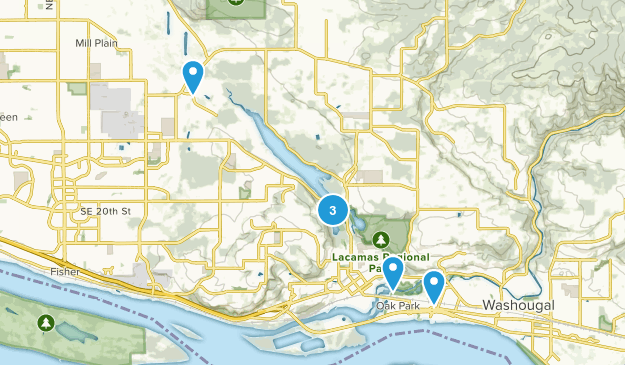 Camas, Washington Trail Running Map