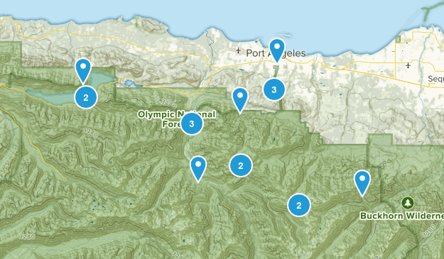 Port Angeles, Washington Trail Running Map