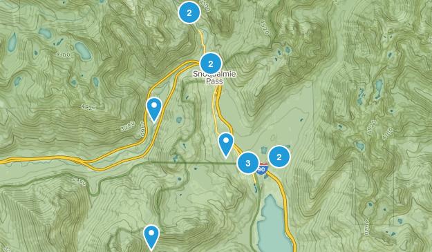 Snoqualmie Pass, Washington Snowshoeing Map