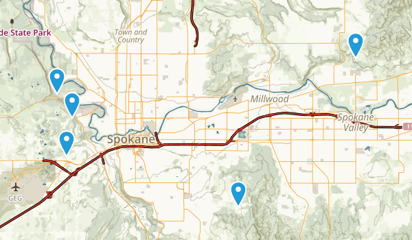 Spokane, Washington Horseback Riding Map