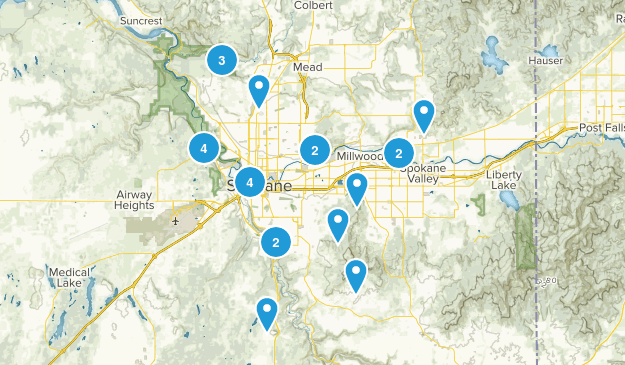 Spokane, Washington Nature Trips Map