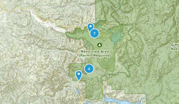 Toutle, Washington Hiking Map