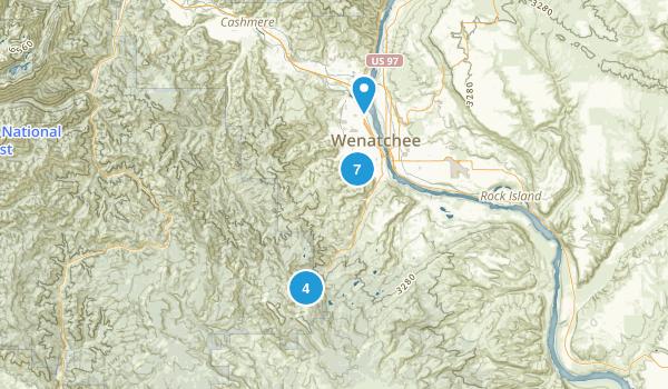 Wenatchee, Washington Dogs On Leash Map