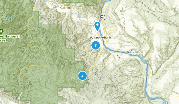 Wenatchee, Washington Dogs On Leash Map