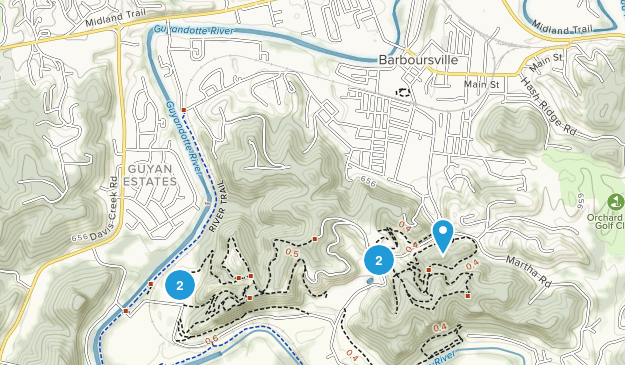 Barboursville, West Virginia Hiking Map
