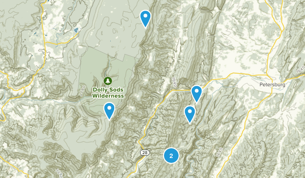 Cabins, West Virginia Hiking Map