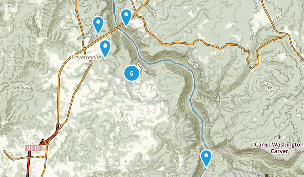 Fayetteville, West Virginia Hiking Map