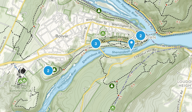 Harpers Ferry, West Virginia Dogs On Leash Map