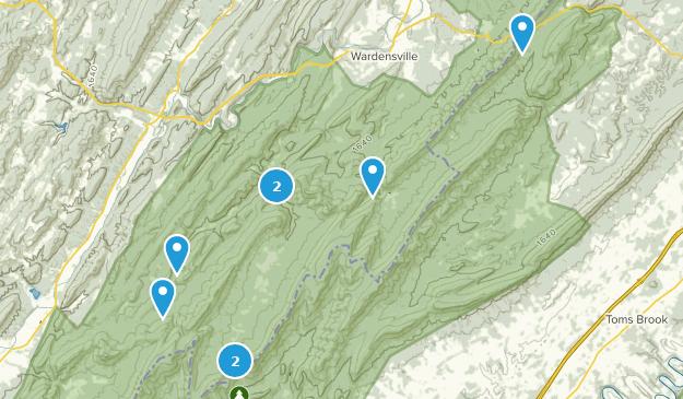 Wardensville, West Virginia Hiking Map