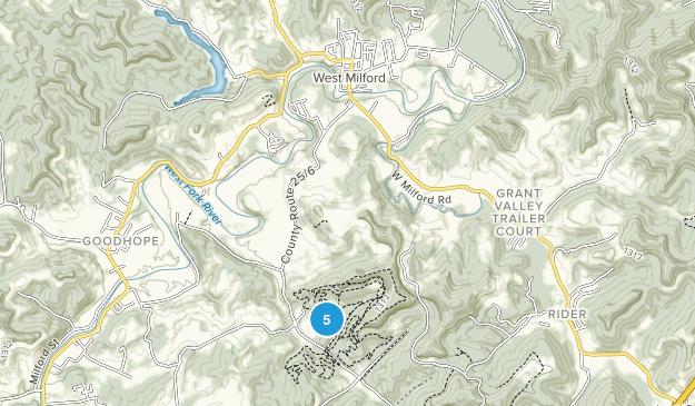 West Milford, West Virginia Hiking Map