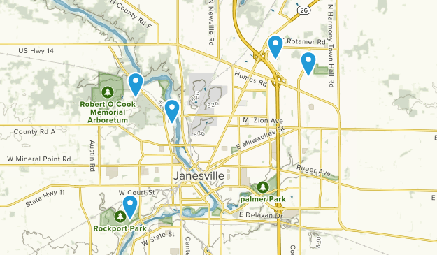Janesville, Wisconsin Hiking Map