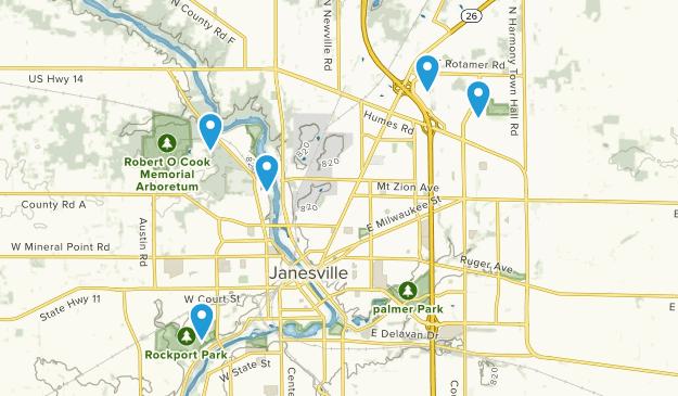 Janesville, Wisconsin Hiking Map